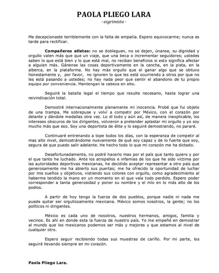Foto Esgrimista Paola Pliego, harta de abusos en México 3 julio 2019