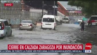 Foto: Colapso vial tras fuerte lluvia en Calzada Zaragoza, CDMX