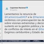 FOTO: Coparmex lamenta renuncia de Carlos Urzúa