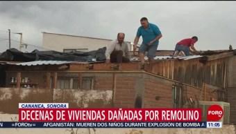 Decenas de viviendas dañadas por remolino en Cananea, Sonora