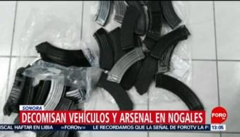 FOTO: Decomisan vehículos y arsenal en Nogales, Sonora, 7 Julio 2019