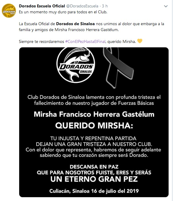 Comunicado del club Dorados de Sinaloa
