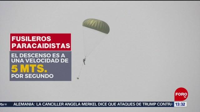 Entrenamiento de paracaidistas de la Fuerza Aérea Mexicana