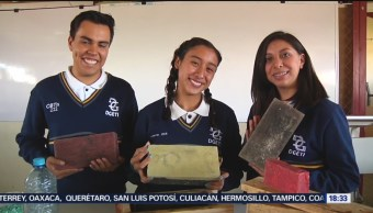 Foto: Estudiantes de Hidalgo crean tabique ecológico