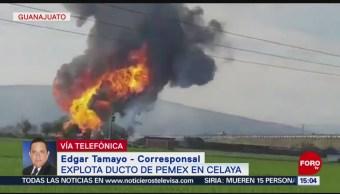 Foto: Explosión en ducto de Pemex en Celaya deja tres lesionados