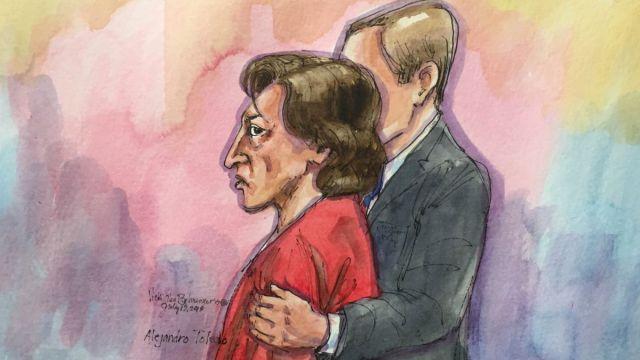 Foto: Boceto de la comparecencia del expresidente peruano, Alejandro Toledo, en una corte de San Francisco, en California, EEUU. El 19 de julio de 2019