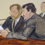 """Foto: Boceto del juicio de Joaquín """"Chapo"""" Guzmán durante su sentencia en una corte de Nueva York, EEUU. El 17 de julio de 2019"""