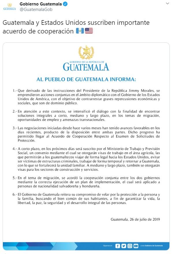 Captura de pantalla. Twitter/@GuatemalaGob