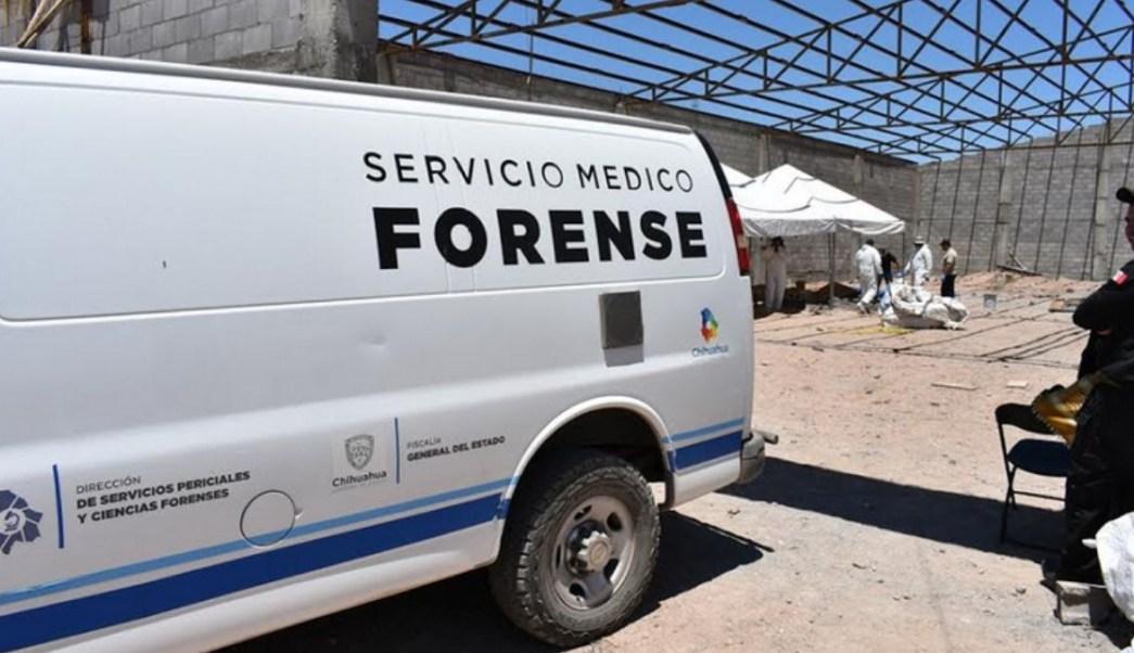 Foto: Servicios forenses llegaron a una bodega en el municipio de Aldama, en Chihuahua. El 11 de julio de 2019