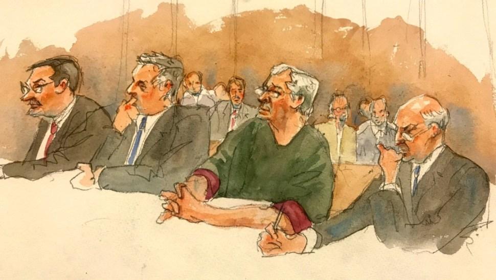 Foto: Dibujo de Jeffrey Epstein durante juicio en Nueva York, 18 de julio de 2019