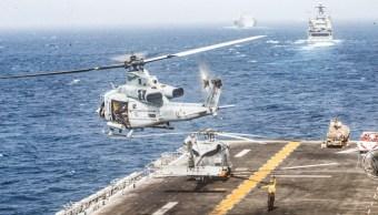 Foto: Helicóptero despega del buque estadounidense USS Boxer 19 de julio de 2019, Ormuz