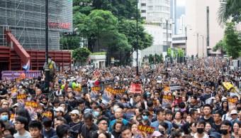 Foto: Decenas de miles de personas marchan en Hong Kong contra el proyecto de ley de extradición., 7 julio 2019