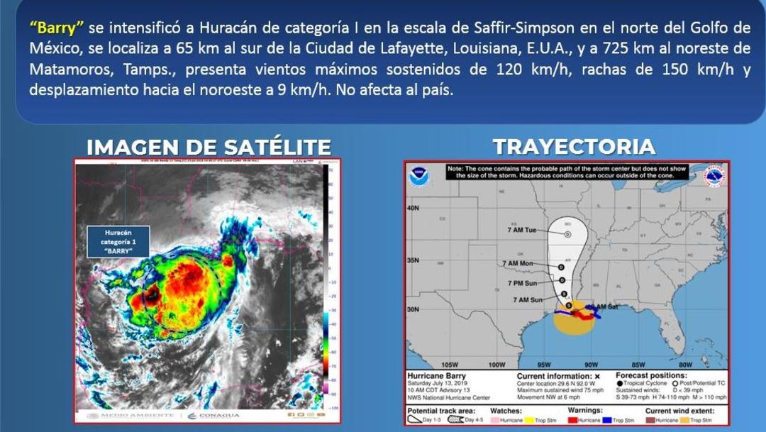Foto: Barry se intensificó a huracán categoría 1 en la escala Saffir-Simpson, se localizó sobre la linea de costa de Louisiana, EU, 13 julio 2019