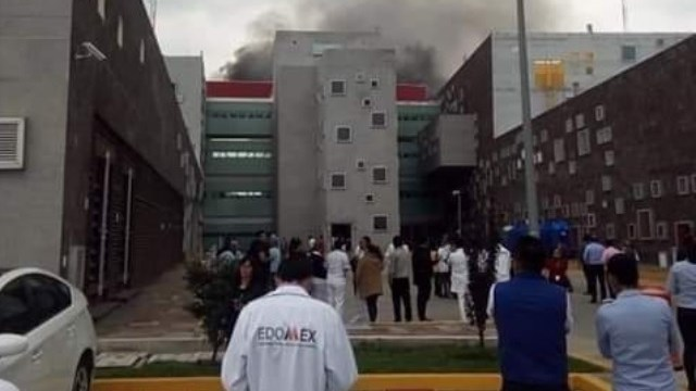 Foto: incendio en hospital de Zumpango, Edomex, 1 de julio 2019. Twitter @MXQNoticias
