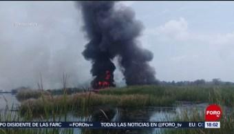 FOTO: Incendio por derrame de hidrocarburo en Tabasco, 13 Julio 2019