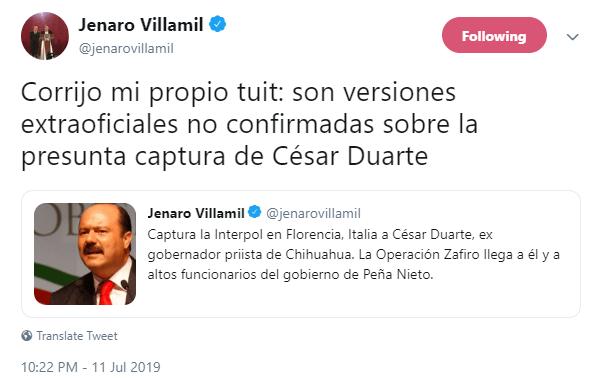 IMAGEN Jenaro Villamil aclara que no está confirmada la captura de César Duarte (Twitter)