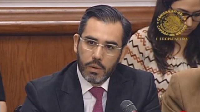 Imagen: Jesús Orta en comparecencia del Congreso de la CDMX, el mes pasado, 18 de julio de 2019 (Noticieros Televisa)