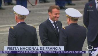 Macron encabeza desfile por fiesta nacional, en París