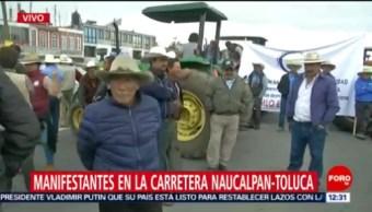 Manifestantes bloquean la carretera Naucalpan-Toluca