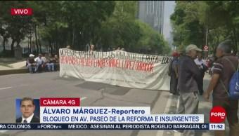 Manifestantes bloquean Paseo de la Reforma e Insurgentes, CDMX