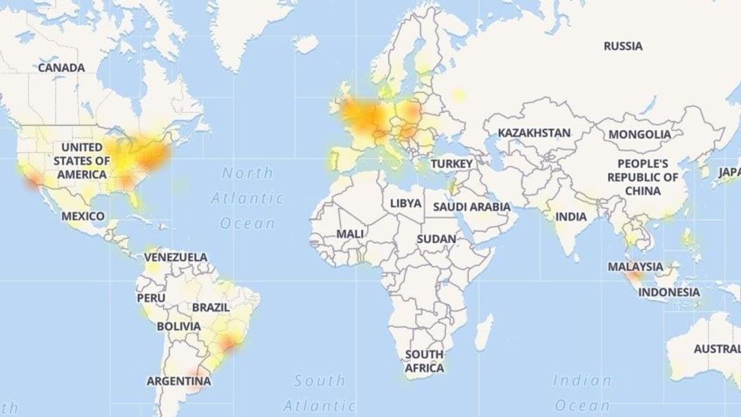 Foto: Mapa de los problemas experimentados por Facebook, 9 julio 2019