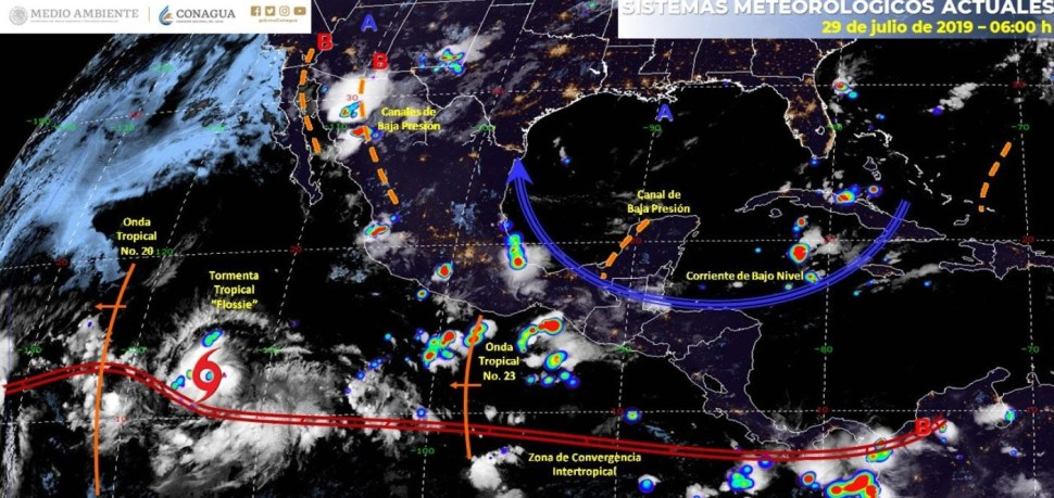 Weather forecast map for July 29, 2019