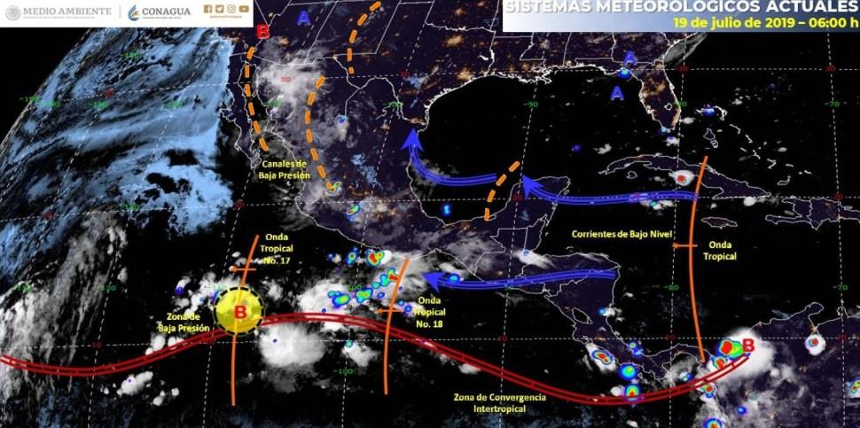 mapa del clima 19 de julio - ¿Cuáles son los pronósticos para Colima según el Servicio Meteorológico Nacional?