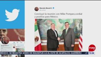 FOTO: Mike envía mensaje tras reunión con Ebrard., 21 Julio 2019