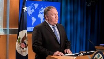 Foto: El secretario de Estado de EU, Mike Pompeo, amenaza a Irán con más sanciones por la expansión de su programa nuclear, julio 7 de 2019 (Getty Images)