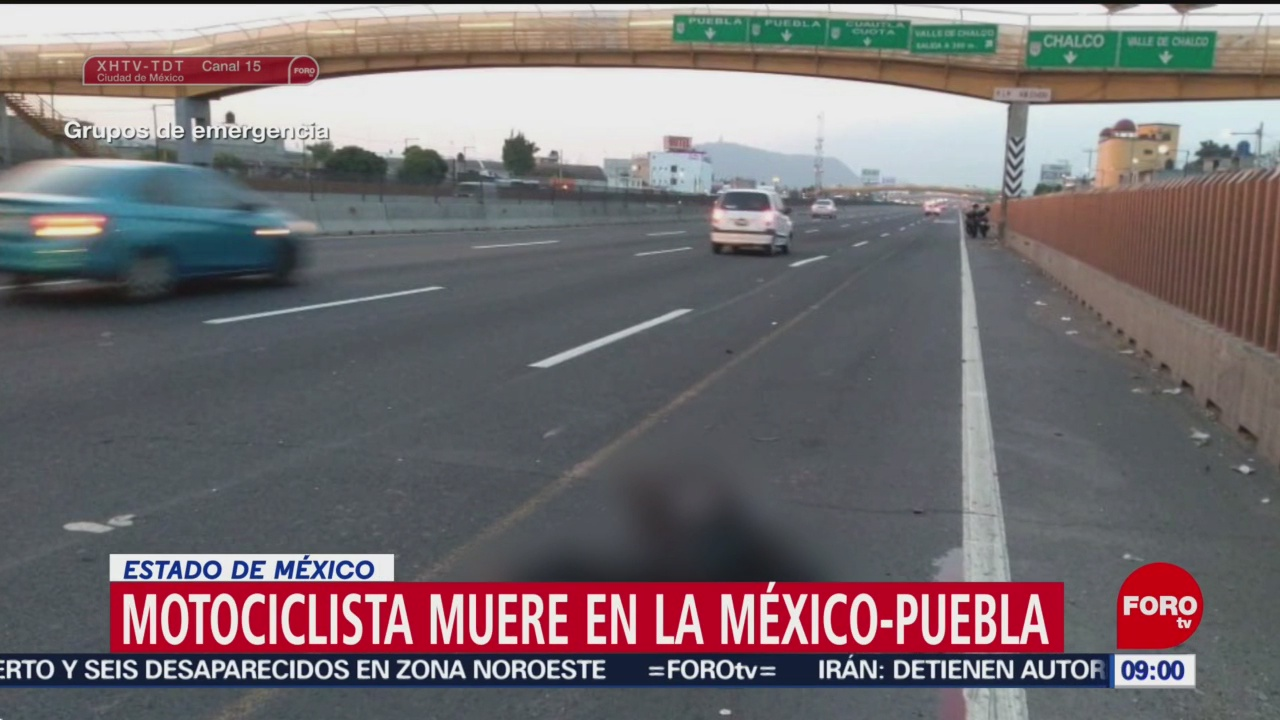 FOTO:Muere motociclista en la autopista México-Puebla, 21 Julio 2019