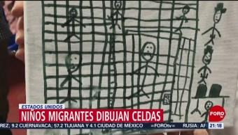 Foto: Niños Migrantes Dibujan Celdas EU 3 Julio 2019