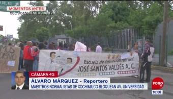 Normalistas de Xochimilco protestan en la Benito Juárez