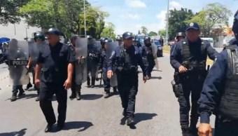 Foto: policías antimotines de Tabasco, 8 de julio 2019. Twitter @TabascoHOY