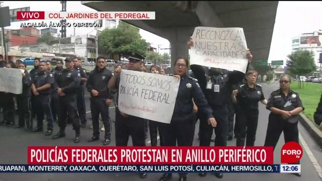 Policías federales se manifiestan y bloquean Periférico Sur, CDMX