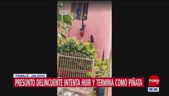 Presunto delincuente intenta huir y termina como 'piñata' en Tonalá, Jalisco