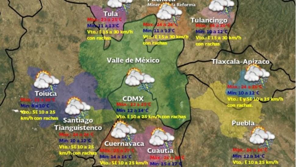 Foto:Pronóstico del clima para el Valle de México, 21 julio 2019
