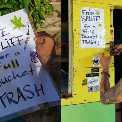 Joven regala cigarros de marihuana a turistas que recojan basura