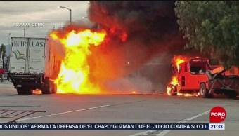 Foto: Choque Incendió Tráiler Autopista México-Puebla 17 Julio 2019
