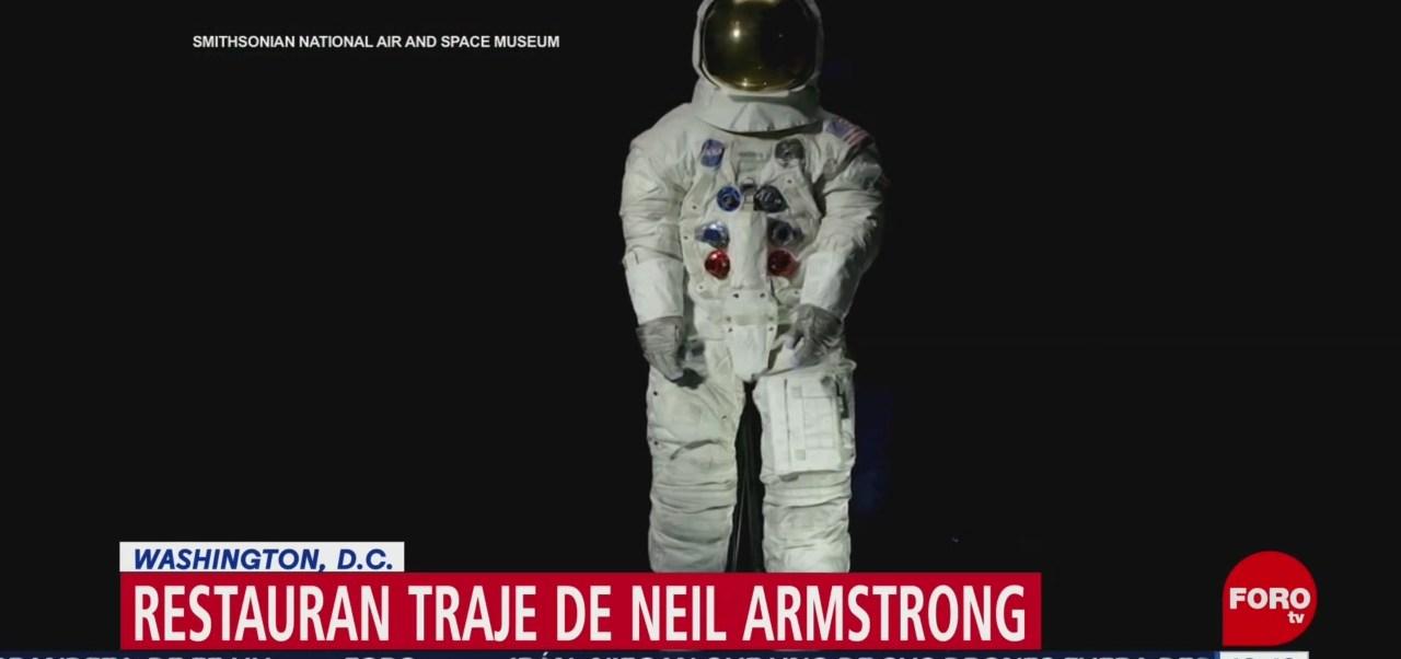 Restauran traje del astronauta Neil Armstrong