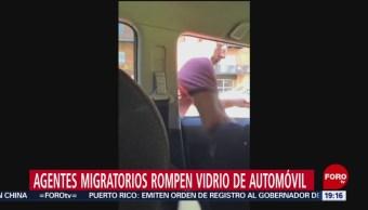 Foto: Rompen Ventana Vehículo Arrestan Migrante Mexicano 23 Julio 2019
