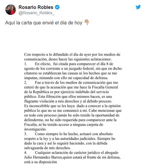 IMAGEN Rosario Robles difunde carta tras anuncio dela Fiscalía General de la República sobre caso 'Estafa Maestra' (Twitter)