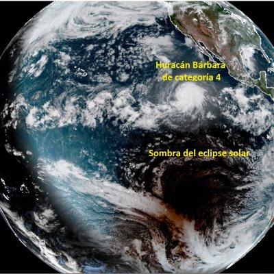 Así se ve un eclipse solar desde el espacio (¡al mismo tiempo que un huracán!)