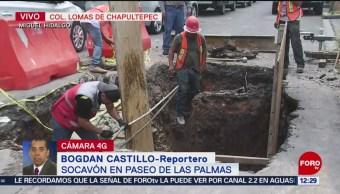 Se abre socavón por fuga de agua en Paseo de las Palmas, CDMX