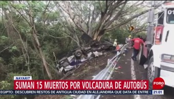 Foto: Accidente Volcadura Autobús Nayarit 18 Julio 2019