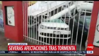 FOTO: Tormenta en Aguascalientes provoca inundaciones y caída de techo del auditorio Morelos, 14 Julio 2019