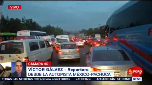 Tránsito lento en la autopista México-Pachuca por obras de un puente