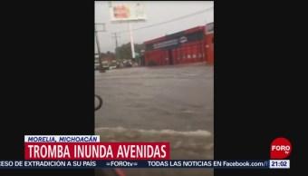 FOTO: Tromba inunda avenidas en Morelia, Michoacán, 21 Julio 2019