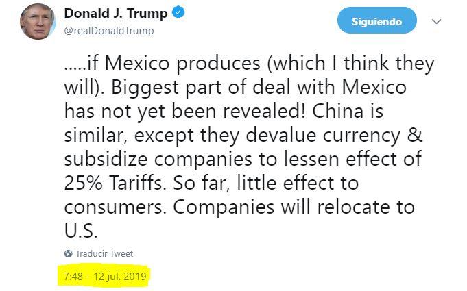 Foto Trump reitera amenaza de aranceles a México 12 julio 2019