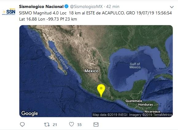 se registra sismo con epicentro en Acapulco,