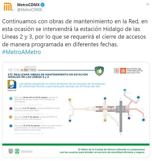 Debido a obras de mantenimiento en la estación Hidalgo de las Líneas 2 y 3, se realizarán cierres temporales en algunos de los accesos